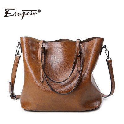 ESUFEIR Brand 2017 Fashion Women Handbag PU Women Bag Large Capacity Oil Wax Leather Shoulder Bag Casual Tote Bag Crossbody Bag