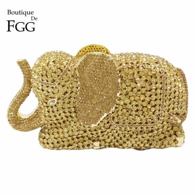 Womens Elegant Golden Elephant Crystal Evening Clutches Shoulder Handbags Metal Hard Case Bridal Animal Wedding Clutch Purses
