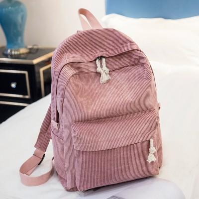 Soft Fabric Backpack Female Corduroy Design School Backpack For Teenage Girls Striped Backpack Women