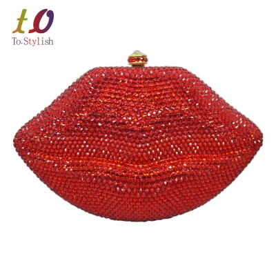 Sexy Bag Stylish Diamond Evening Bag Sexy Red Lips Crystal Evening Bag Gold metal Party Purse Bride Wedding Handbag with Chain bag