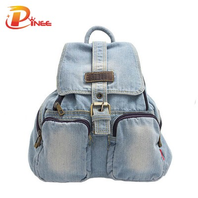 American apparel denim backpack Navy blue denim backpack female school bag casual denim women travel shoulder bag for teenager