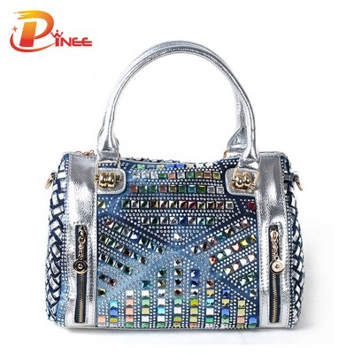 Rhinestone Handbags Designer Denim Handbags Diamond Denim Messenger Bag Lady Knit Bag Leather Women Handbags