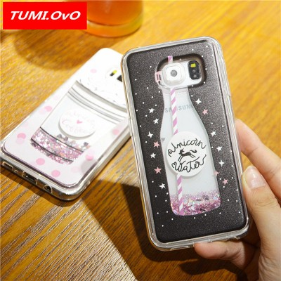 Drink Bottle Dynamic Liquid Bling Star Quicksand Soft Case for Samsung Galaxy J1 J3 J5 J7 A3 A5 2016 2017 S5 S6 S7 Edge S8 Plus
