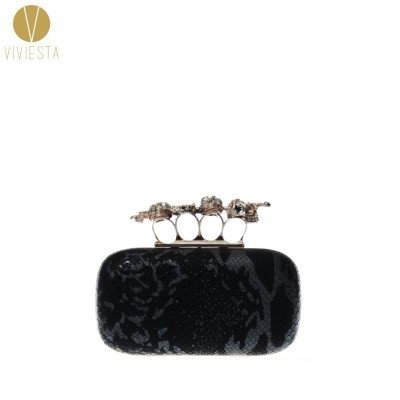SKULL AND SWORD KNUCKLE RING CLUTCH - 2014 Womens Gothic Satin Punk Brass Knucklebox Box Banquet Evening Party Chain Purse Bag