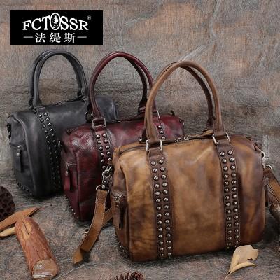 2019 Vintage Handmade Genuine Leather Women Handbag Shoulder Bag Cowhide Rivets Cross Body Bag
