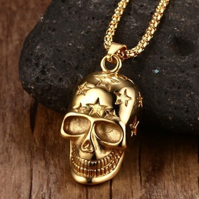 Mens Necklace Gold-color Punk Rock Gothic Skull Pendant Necklace Stainless Steel Men Vintage Skeleton Hiphop Bike Jewelry 24