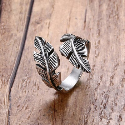 Men Ring Stainless Steel Vintage Feather Wrap Punk Bike Black Silver color Fashion Jewelry Anel Aneis