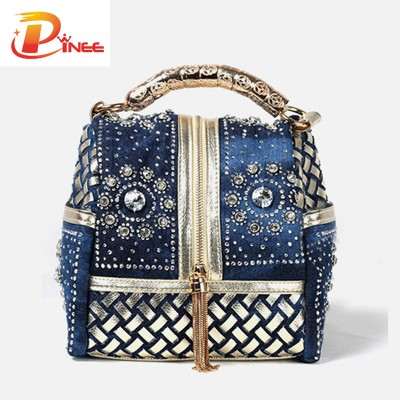 Rhinestone Handbags Designer Denim Handbags Women Handbag Famous Brand Rhinestone Totes Shoulder bag Luxury Bags