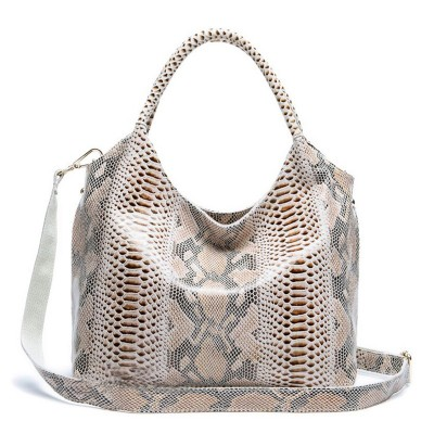 PROMOTION Top quality Elegant  lady style shiny snake pattern Real cow leather vintage bags for women