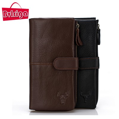 BVLRIGA Genuine leather wallet long men purse bag famous brand card holder dollar price zipper clutch bag designer high quality