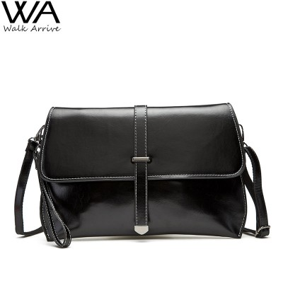 Genuine Leather Women Clutch Real Leather Purse Waxed Cowhide One Shoulder Bag Fashion Satchel Casual Bolsas Femininas