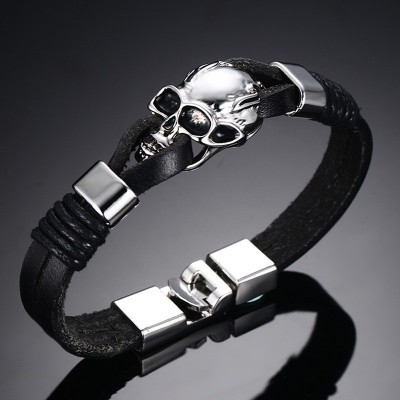 Mens Punk Black Leather Bracelet Stainless Steel Gothic Skull Bracelets  Bangles Cuff Bangle Men Fashion Jewelry pulseira 8.5