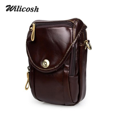 Famous Brand Men Messenger Bags 100% Genuine Leather Multifunction Chest&waist Packs Camera Bag Men's Travel esporte Bags WL174