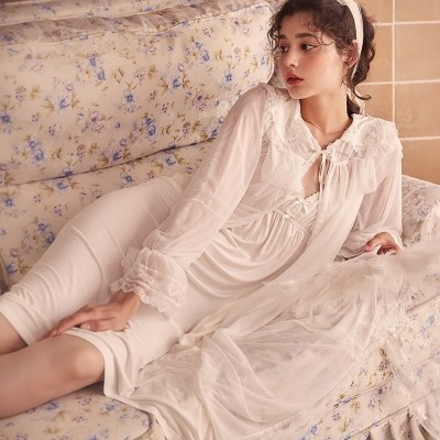 Lace Robe Set Woman Long Sleeve Princess Robe Femme Night Dress Nightgown Dressing Gown
