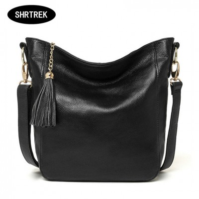 Small bucket women shoulder bag 2019 tassels genuine leather bag women messenger bag famous brand designer handbags high quality