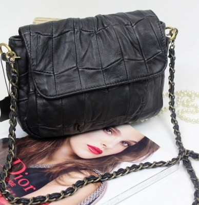Top Genuine Leather Cotton Retro Real Soft Sheepskin Handbags Vintage Elegant Women Classic Chain Flap Dark Stars Shoulder Bag