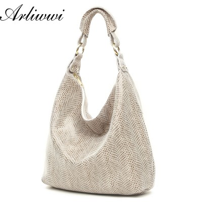 100% Genuine Leather Embossed Shiny Serpentine Shoulder Bags Big Casual Style Soft Handbags Women B2021