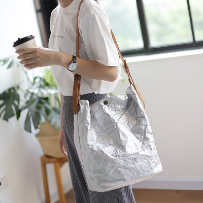 Autumn New Design Korean Vintage Single Shoulder Concise Package Large Capacity Kraft Paper Handbag