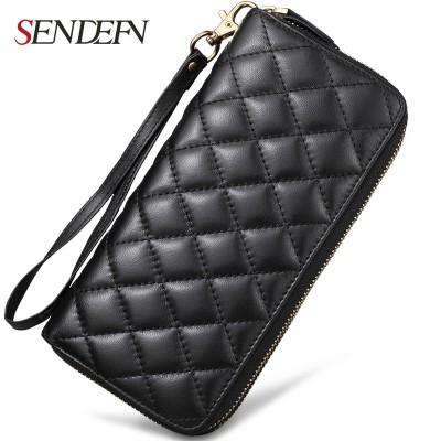 Sendefn Fashion Genuine Leather Plaid Sheepskin Women Wallets Large Capacity Long Zipper Ladies Party Clutch Card Holder Purses
