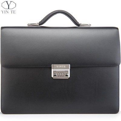 YINTE Men's Leather Briefcase Formal Business Lawyer Bag Black Briefcase Messenger Shoulder Office Bag Briefcase Totes T8058-6