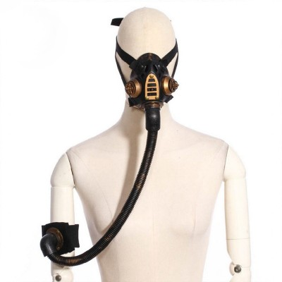 Gold Metallic Resin Conduit Gothic Rave Rock Cool Respirator Gas Mask Halloween Cosplay Party Mask Steampunk Costume Accessories