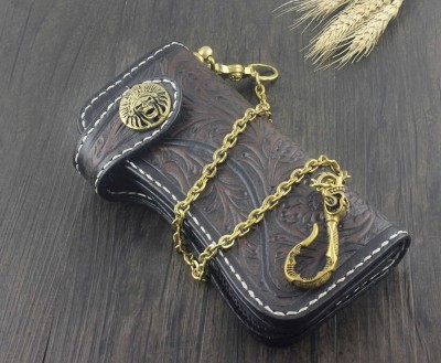 Vintage Handmade Biker Long Leather Tooled Carved Wallet Purse With Brass Chain
