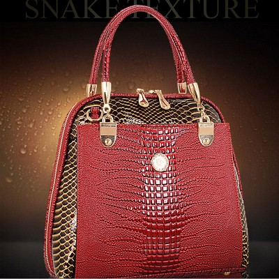 Women Shell Bag Patent Leather Bag female serpentine pattern Tote Shoulder Bags Luxury Handbags Crossbody Bags