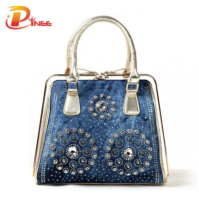 Rhinestone Handbags Designer Denim Handbags fashion women handbags denim tote bags luxury ladies vintage bag
