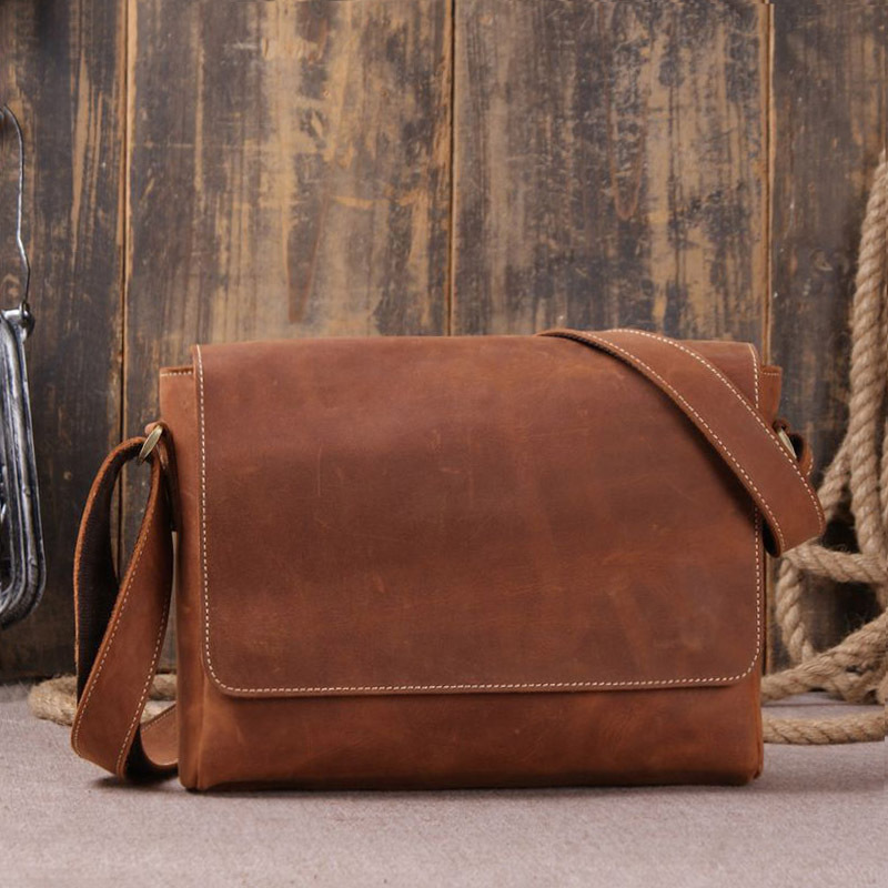 14e9c8e0310e 2017 Sale Satchels Cotton Vintage Style Full Leather Cover Crazy Horse  Genuine Shoulder Bag For Men Small Size Classic Real