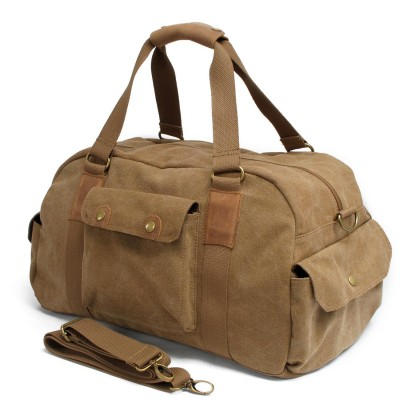 2019 Khaki Real Vintage Canvas Leather Men Travelsoft Zipper Bags Carry On Luggage Duffel Tote Large Weekend Bag Overnight