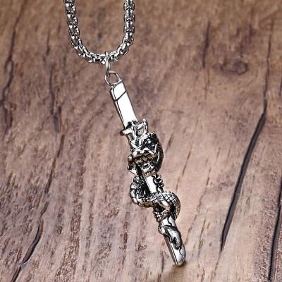 Mprainbow Mens Necklaces Antique Stainless Steel Samurai Dragon Sword Vintage Men Pendants Necklaces for Men Silver Tone Vintage