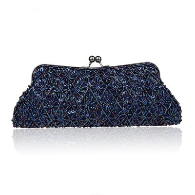 2017 New Arrival Navy Blue Lady Banquet Handbag Clutch Party Bridal Evening Bag Womens with Shoulder Chain Makeup Bag Bolso 1825