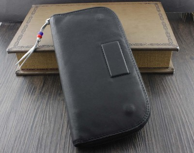 Mens Soft Leahter Biker Rocker Simple Style Ziper Money Card Holder Wallet Gift