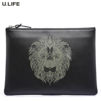 U.LIFE - High-end Top Fashion Lion Totems Designer Gurantted Quality Personized Soft Leather Wristlet Men Handbags for iPad J50