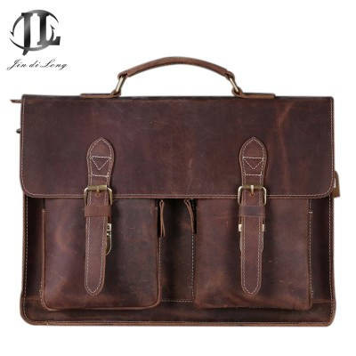 Brand New Oil Wax&Crazy Horse Genuine Leather Men's Classic Briefcase Handbag Shoulder Bussiness Zipper Laptop Notebook OL  Bags