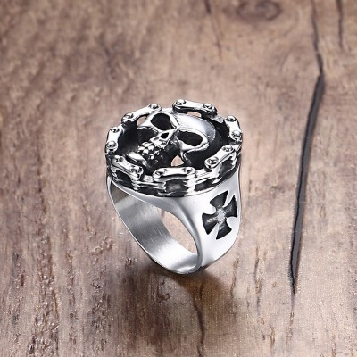 Mens Stainless Steel Ring Motorcycle Chain Skull Cross Hallows Day Halloween Jewellery