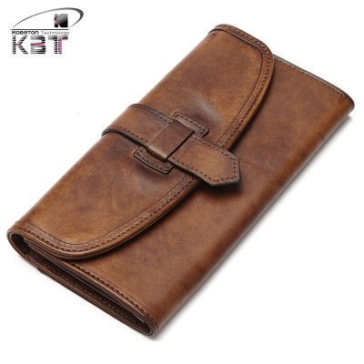 Luxury Distress Vintage Unisex Men Women's Envelope Wallet Long Purse Daily Clutch Bag Mobile Phone Bag Genuine Bushing Leather
