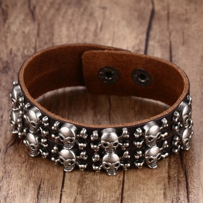Mens Punk Leather Bracelets 2 Row Skull Head Crossbone Heavily Metal Style Wristband Cuff Bracelet Men Adjustable Jewelry