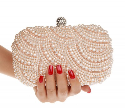 Hot Style Womens Beaded Handbag/ Bridal Duplex Full Pearl Diamond Ring Clutch Purse/ Chain Evening Bag Shoulder Messenger Bag