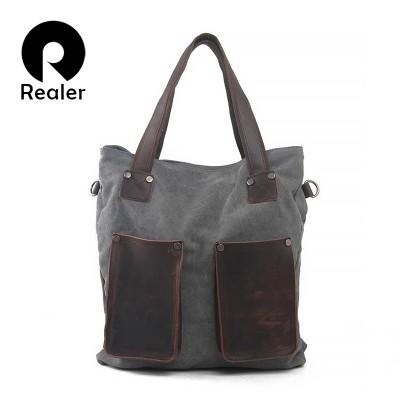 REALER brand women handbag high quality canvas tote bag female large capacity leather handbags shoulder bags