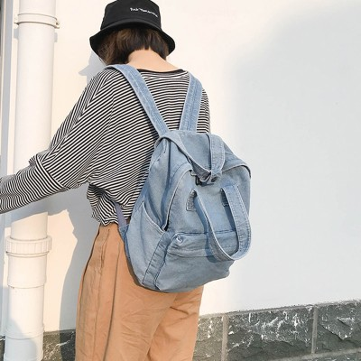 2019 Brand New Fashion Women Backpack High Quality Denim Youth Backpacks for Teenage Girls Female High School Shoulder Bag Bagpack