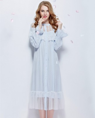 Nightgown Lace Bathrobe Round Neck long-sleeve Sleepwear Queen Sleeping Dress Stargirl's Bedgown Ankle-Length sleep wearing