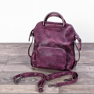 Real Cowhide Genuine Leather Backpack Womens Bag Vintage Designer Girls Travel School Bags Famous Brand Female Laptop Rucksack