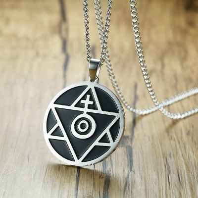 Unique Sun Cross Triangle Spiritual Belief Pendant Necklace for Men Stainless Steel Male Jewelry 24 Inch