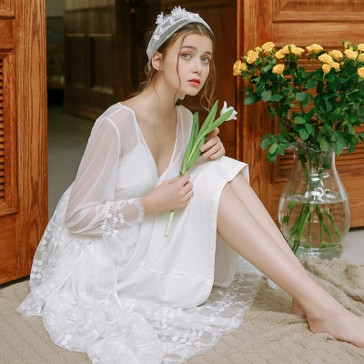 White Lace Robe Set Long Robe Spring Summer Lace Sexy Sleepwear Robes  Princess Night Robe Lace Lace