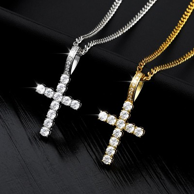Gold Chain Ice Out Cross Pendant Necklaces For Women Men With Crystal Zircon Bijoux Femme Hip Hop Steampunk Jewelry Gift