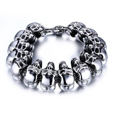 Mens Skull Links Chain Bracelet in Silver Color Stainless Steel Large Heavy Gothic Punk Bike Jewelry Pulsera Pulseras bileklik