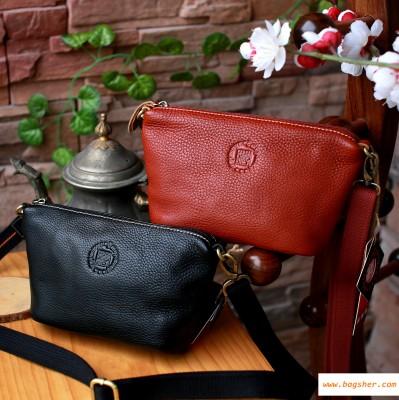 brown black leather  crossbody bag
