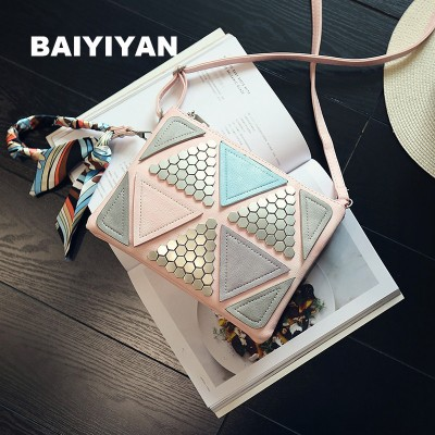 2017 trigonometric geometry Patchwork vintage handbag Scarf square Bag female Rivet Triangle Stitching messenger bag