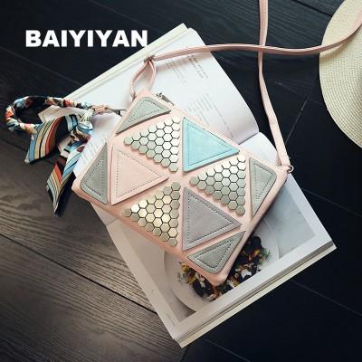 2019 trigonometric geometry Patchwork vintage handbag Scarf square Bag female Rivet Triangle Stitching messenger bag